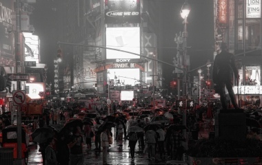 Time's Square in the rain